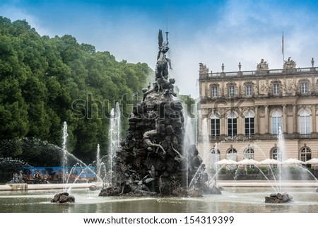 Fountain figures in front of castle Herrenchiemsee in Bavaria, Germany - stock photo