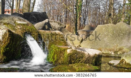 fountain in a park - stock photo