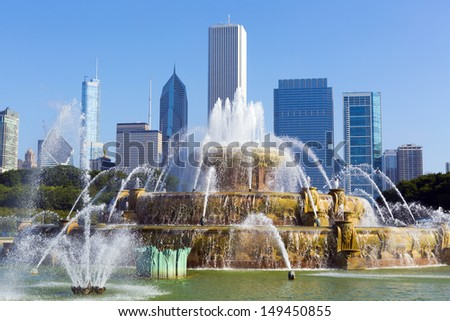 fountain in chicago downtown - stock photo