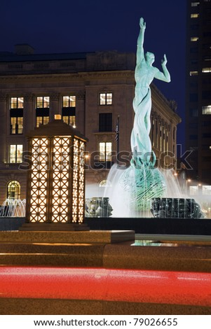 Fountain in Cleveland, Ohio night time. - stock photo