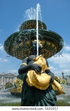 Fountain in Concorde Place, Paris - stock photo