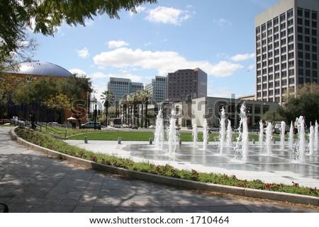 Fountain in downtown San Jose - stock photo