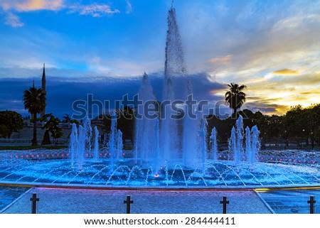 fountain in front of Hagia Sofia, Istanbul - stock photo