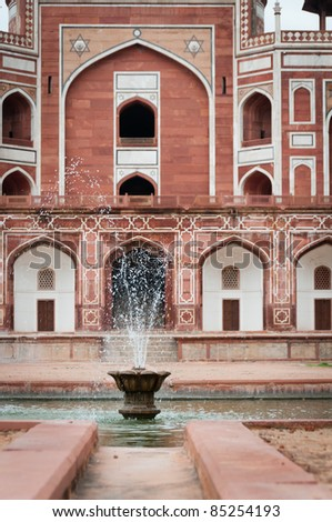 Fountain in front of Humayun's tomb in Delhi, India as an example of early Mughal architecture