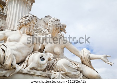 Fountain in front of the Austrian Parliament in Vienna, Austria - stock photo