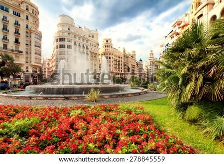 Fountain in main square, Valencia, Spain  - stock photo