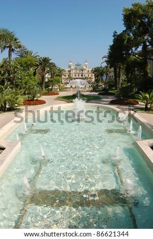 Fountain in Monte Carlo in front of Grand Casino, Monaco - stock photo