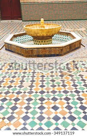 fountain in morocco africa old antique construction  mousque palace - stock photo