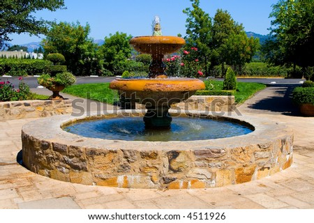 Fountain in Napa Valley California - stock photo