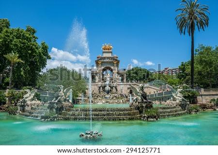 Fountain in Parc de la Ciutadella called Cascada in Barcelona, Spain - stock photo