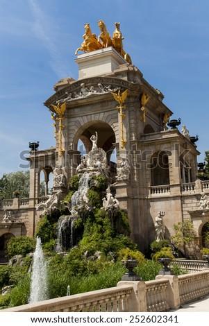 Fountain in Parc De la Ciutadella in Barcelona, Spain - stock photo