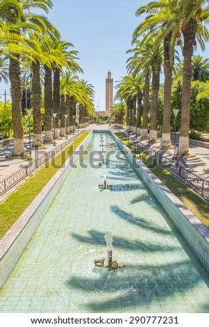 Fountain in park, Taroudant, Morocco - stock photo