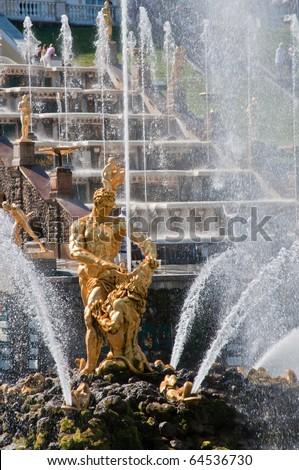 Fountain in Peterhof, St Petersburg, Russia. - stock photo