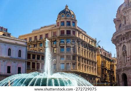 Fountain in Piazza de Ferrari - Genoa, Italy - stock photo