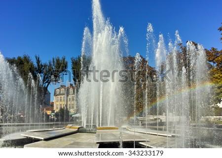 Fountain in the center of City of Pleven, Bulgaria - stock photo