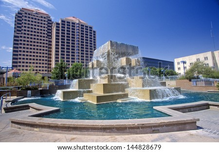 Fountain in the city center of downtown Albuquerque, NM - stock photo