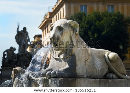 Fountain in the form of a lying lion, Piazza del Popolo, Rome, Italy - stock photo