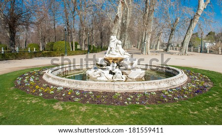 Fountain in the Isla garden (Jardin de Isla), Aranjuez, Spain - stock photo
