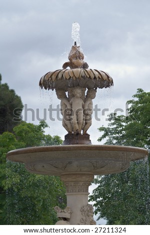 Fountain in the park in Madrid , Spain - stock photo