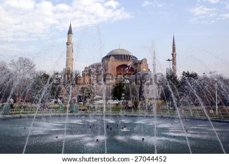 Fountain near Aya Sophya in Istanbul, Turkey - stock photo