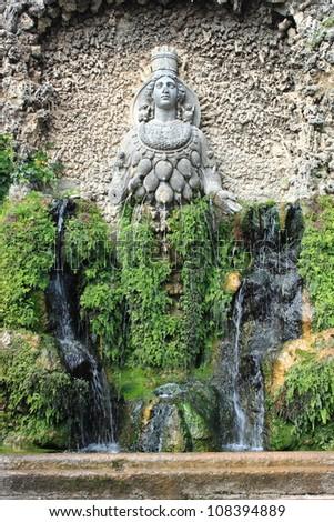 Fountain of Diana of Ephesus in Villa d'Este. Tivoli, Italy - stock photo