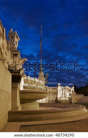 Fountain of Mare Adriatico by the monument to King Vittorio Emanuele II - Rome, Italy - stock photo