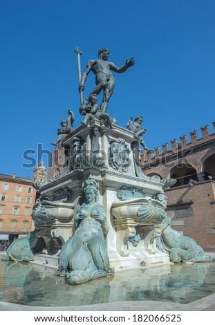 Fountain of Neptune in Bologna, Italy - stock photo