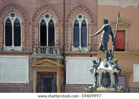 Fountain of Neptune in Bologna. Italy - stock photo
