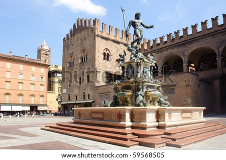 Fountain of Neptune in Bologna. Italy. - stock photo