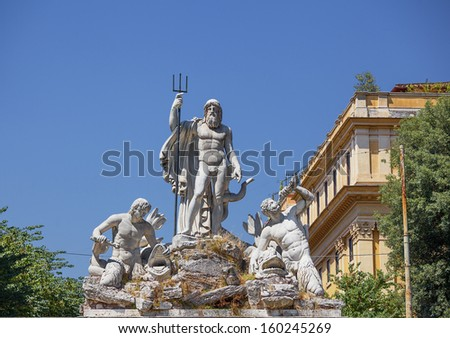 Fountain of Neptune in Piazza dei Popolo. Rome. Italy. - stock photo