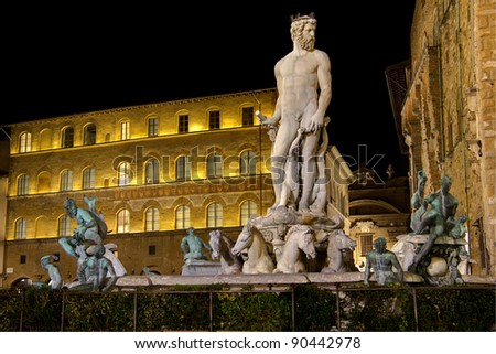 Fountain of Neptune in Piazza della Signoria in Florence photographed at night - stock photo