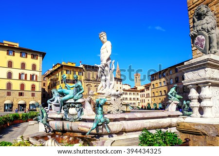 Fountain of Neptune in the olt town center of Florence, Italy - stock photo