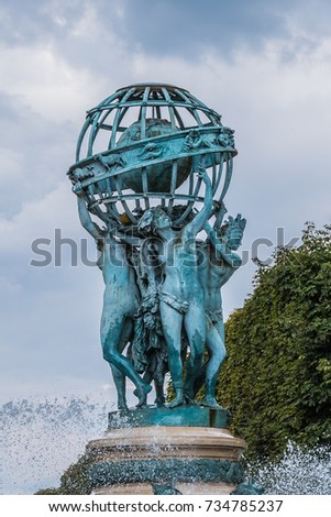 Fountain Observatory Four Continents La Fontaine Stock Photo (100 ...