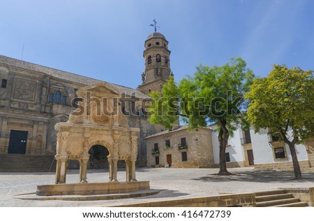 Fountain of Santa Maria and Cathedral of the Birth of Our Lady of Baeza. Baeza, Andalusia, Spain - stock photo