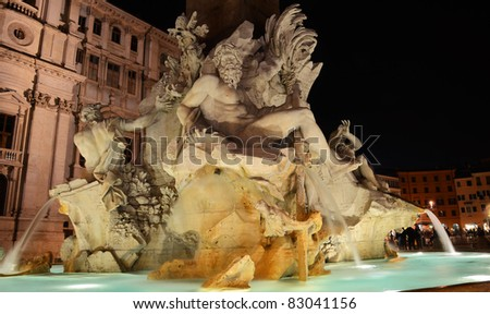 Fountain of the Four Rivers, Piazza Navona Rome, Fontana di Quattro Fiume, Bernini marble sculpture - stock photo
