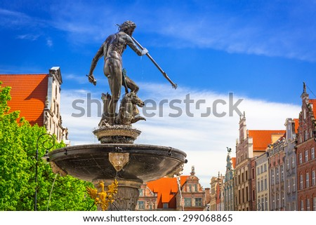 Fountain of the Neptune in old town of Gdansk, Poland - stock photo