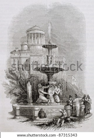 Fountain of the Prado old illustration, Madrid old illustration. By unidentified author, published on Magasin Pittoresque, Paris, 1844 - stock photo