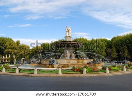 Fountain of the Rotonde in Aix-en-Provence - stock photo