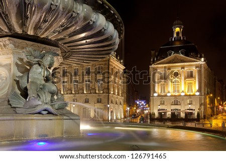 Fountain of the three graces, Bourse square, Bordeaux, Gironde, Aquitaine, France - stock photo