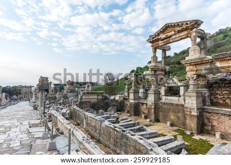 Fountain of Trajan, Ephesus - stock photo