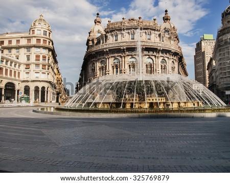 Fountain on Piazza de Ferrari in Genoa - stock photo