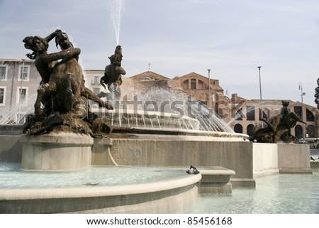 Fountain on Piazza della Reppublica, Rome - stock photo