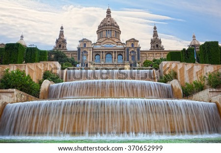 Fountain on Placa De Espanya, before National Museum in Barcelona, Spain