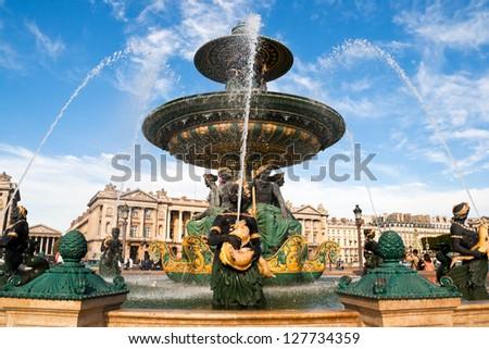 Fountain on Place de la Concorde in Paris - stock photo
