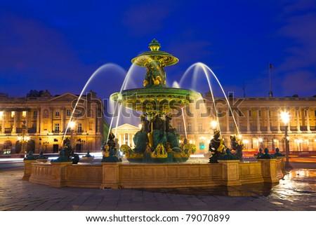 Fountain on Place de la Concorde in Paris, France - stock photo