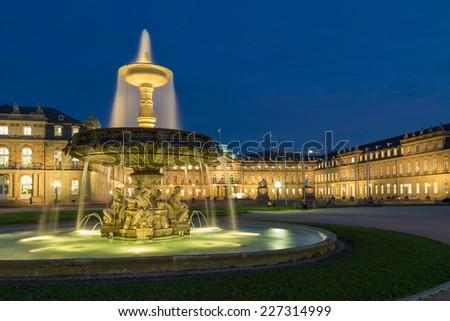 Fountain on square Schlossplatz in center of Stuttgart, Germany - stock photo