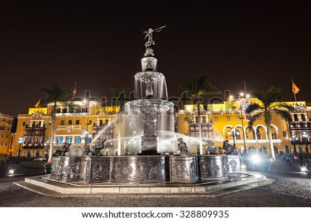 Fountain on the Plaza Mayor in Lima, Peru - stock photo