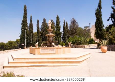 Fountain on the shepherds in Bethlehem, Israel - stock photo