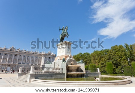 Fountain on the square near the Royal palace in Madrid, Spain - stock photo