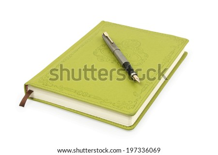 fountain pen and leather notepad isolated on a white - stock photo